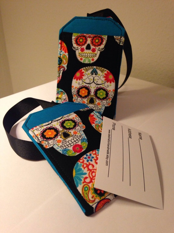 Luggage Tag Set, Sugar Skull, Day of the Dead, Security Tags, Travel Accessory, Identification