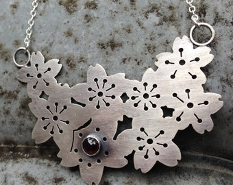 sterling silver and garnet cherry blossom necklace