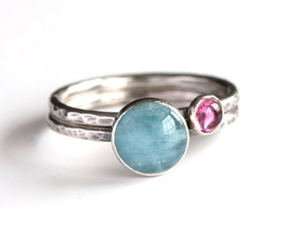Plumeria - Natural Aquamarine and Sterling Silver Ring Hammered Oxidized