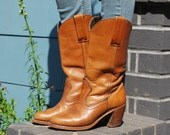 Vintage 70's Boho Brown Leather Cowgirl Boots