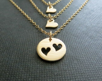 Bronze mother & two daughters necklace sets, gift for mom of 2, gift for aunt, gold heart charm, keepsake jewelry