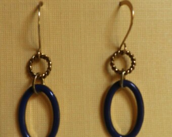 dangle EARRINGS, Nautical navy blue and gold
