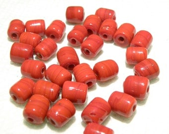 20% OFF -- DESTASH -- 33 Vintage? Red Opaque Glass Tube Beads -- Lot KK