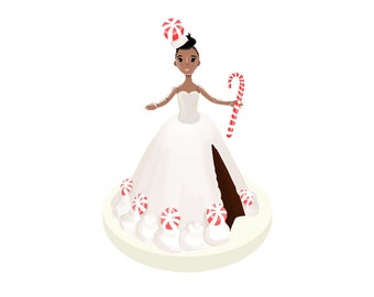 Doll Cake - Blank Card - Peppermint Fudge