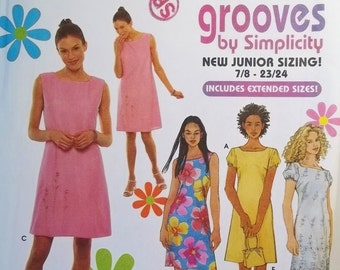 Simplicity 9130 Junior Girl's Sewing Pattern, SALE, Semi-Fitted Sleeveless Dress and Overdress, Beribboned Purse Pattern  Girl's Size 7 - 24