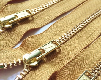 Brass Zippers- 7 inch closed bottom ykk metal teeth zips- (5) pieces - Goldenrod 087