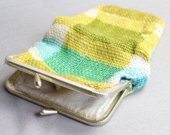 Vintage lime green and blue plaid woven sunglasses case with kiss clasp
