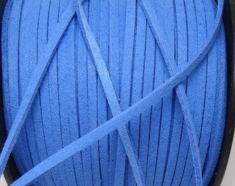 20 Yard 3mm Blue Faux Suede Leather Cord, Leather String Cord, Bracelet Cord