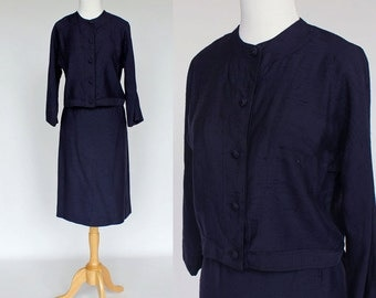 60s Cropped Jacket and Skirt / Navy Raw Silk Look / Xsmall to Small