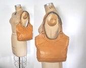 Honey Brown Leather Purse / 1970s Shoulder Bag