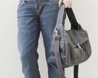 New Year SALE - 20% OFF Mini Classic in Dark Gray / Sling bag / Messenger / Crossbody / Hobo / Handbags / Purses / For Her / Women / Kids