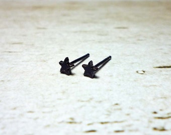 Tiny Black Star Stud Earrings, Dainty Earrings