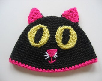 Ready To Ship - Crochet Black Cat Baby Hat - Black & Pink Kitty Baby Hat - Baby Kitten Hat - Cute Kitty Baby Hat - Size 3 to 6 Months