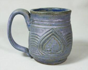 Spade Mug Lilac Blue Handmade Pottery