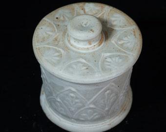 White Vanity Jar, Sugar Jar, Small Jar, Elegant Jar Handmade Pottery