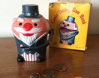 Vintage Uncle Sam Plastic Comic Bank with Box 60s 70s Americana