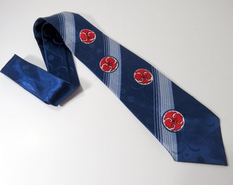 Vintage Neck Tie Midnight Blue and Red, Vintage Mens Neckwear