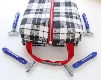 Dopp Kit, Plaid Shaving Kit, Black and White Toiletries Bag, Mens Shaving Bag, Groomsmen Gift, Vegan Travel Case, Sundries Bag