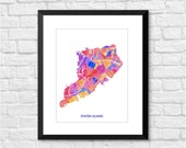 Staten Island Art Map Print.  Color Options and Size Options Available.  Map of Staten Island