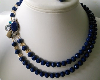 Two Strand Swarovski Lapis Blue Pearl with Rhinestone Brooch Beaded Necklace and Earring Set    Great Brides or Bridesmaid Gifts