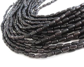 Exotic Camagong Wood oval beads - Black Natural Wooden Beads 10x5mm - 45pcs  (PB300)