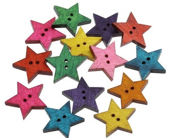 Wood sewing buttons 24mm - Stars shapes 25 Mixed Colors Buttons (BB090)