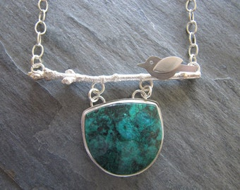 Chrysocolla Necklace with Twig, Bird, Carnelian, in Sterling Silver