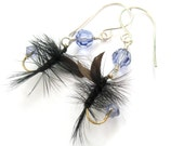 Light Lilac Purple Handmade Fishing Lure Earrings Upcycled Feather Earrings