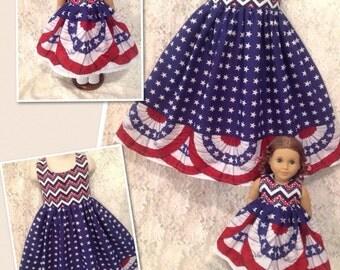CUSTOM SIZES * Flag Border Chevron * Matching dress child 2 3 4 5 6 7 8 10 12 14 & American Girl Doll, Bitty Baby, My Twinn - sewnbyrachel