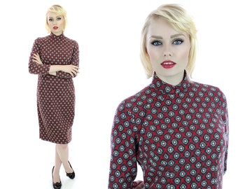 Mod 60s Chinese Dress Soft Wool Red Gray Fuzzy Abstract Asian Wiggle Bodycon Psychedelic 70s 1960s Sixties Retro Mad Men Small S