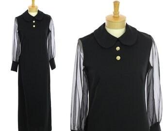 60s Mod Formal Dress 1960s Hostess Vintage Black Sheer Sleeves Rhinestone Buttons Peter Pan Collar Flutterbye 70s 1970s 1960s Medium M Large