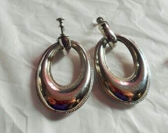 Vintage Large Dangle Hoops Screw Back Earrings