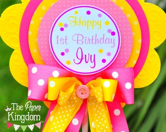 Birthday Centerpiece, Pink and Yellow Centerpiece, Deluxe Party Centerpiece, Pink Lemonade Birthday Party