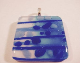 Blue Bubbles and Stripes Fused Glass Pendant