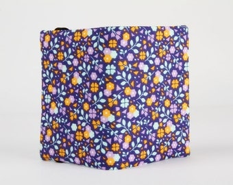 Fabric card holder - Covered meadow in purple / Soft Cactus / Little flowers / light blue navy lilac orange / bloom / spring