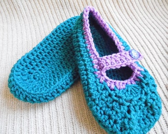 House Shoes for Women, Teal, Purple, Mary Jane House Shoes, Adult Size, Slippers, Baboosh, Crochet Slippers
