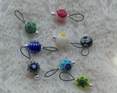 knitting stitch markers - snag free - 8mm round multicolor millefiori beads great for sock knitting - three loop sizes available