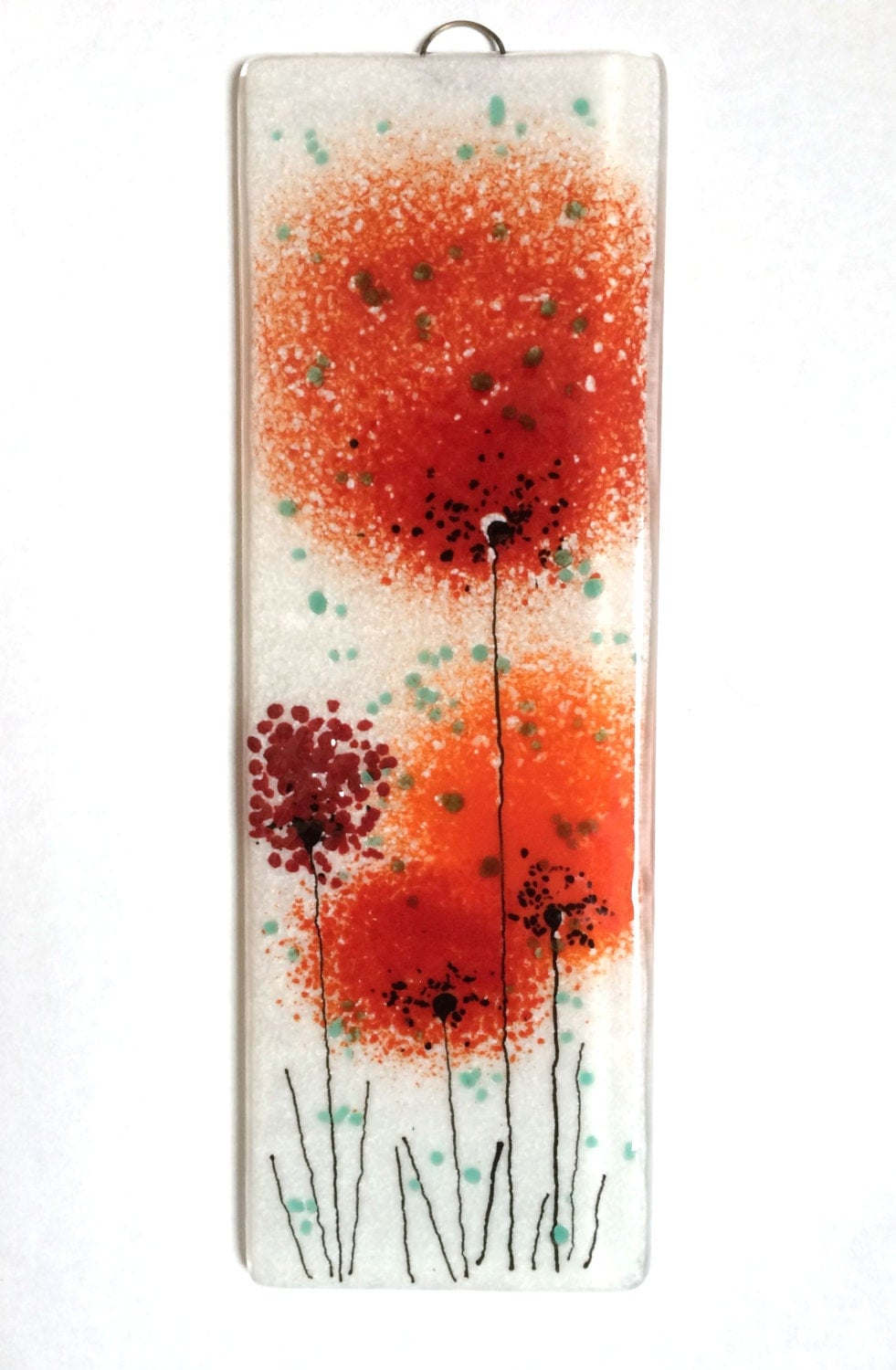 Wall Art Fused Glass : Fused glass wall art poppy red flower