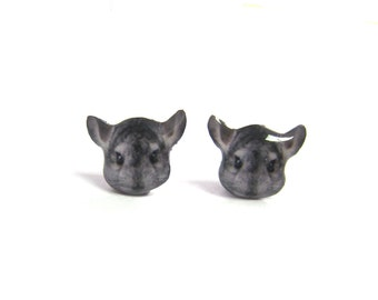 Chinchillat Stud Earrings / Chinchillat lover / chinchillat earrings / jewelry / grey / animal lover / pet / pet memorial /  A025ER-E03