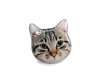 Smart Shorthair Tabby Cat head ring - A0010-R C20 Made to Order