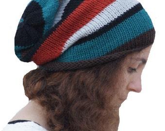 Knitted Slouchy Hat, Dreads, Tam,Slouch Hat ,Knit Beanie Hat, Stripey
