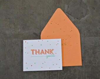 Thank You Dot Design Letterpress Greeting Card