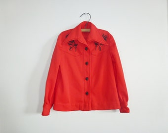 Vintage Red Polyester Boy's Cowboy Shirt