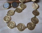 Vintage matte goldtone coin necklace, Roman or Greek coin reproduction, French coin clip earrings set, historical coin reproduction jewelry