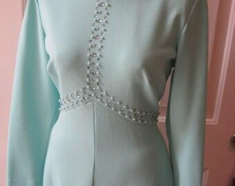 Vintage 50s light aqua blue Mad Men gown, custom made aqua bridesmaid dress, aqua gown bead detail size M, summer wedding dresses size Med