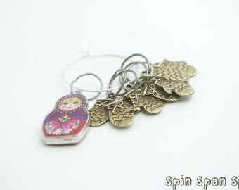 A Russian Doll with Mittens, Stitch markers, set of 5 markers, up to 8mm needles