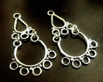 1 Pair Bali Sterling Silver Filigree Chandelier, Oxidized Earrings, 30x16x1mm