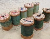 Vintage Wood Spools Lot of 8 wooden thread spools textile thread Green threads SALE