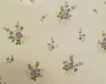 Vintage Wallpaper Purple Roses throughout full roll SALE