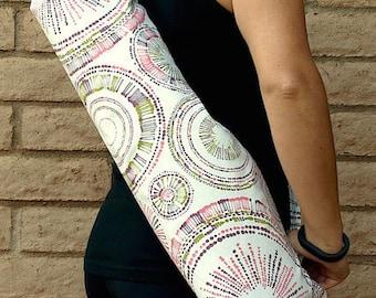 Yoga Mat Bag Pink and green Yoga Mat Tote Yoga Bag Yoga Tote Yoga Sling Yoga Mat Carrier Yoga Mat Holder has pocket Handmade CIRCULAR MOTION